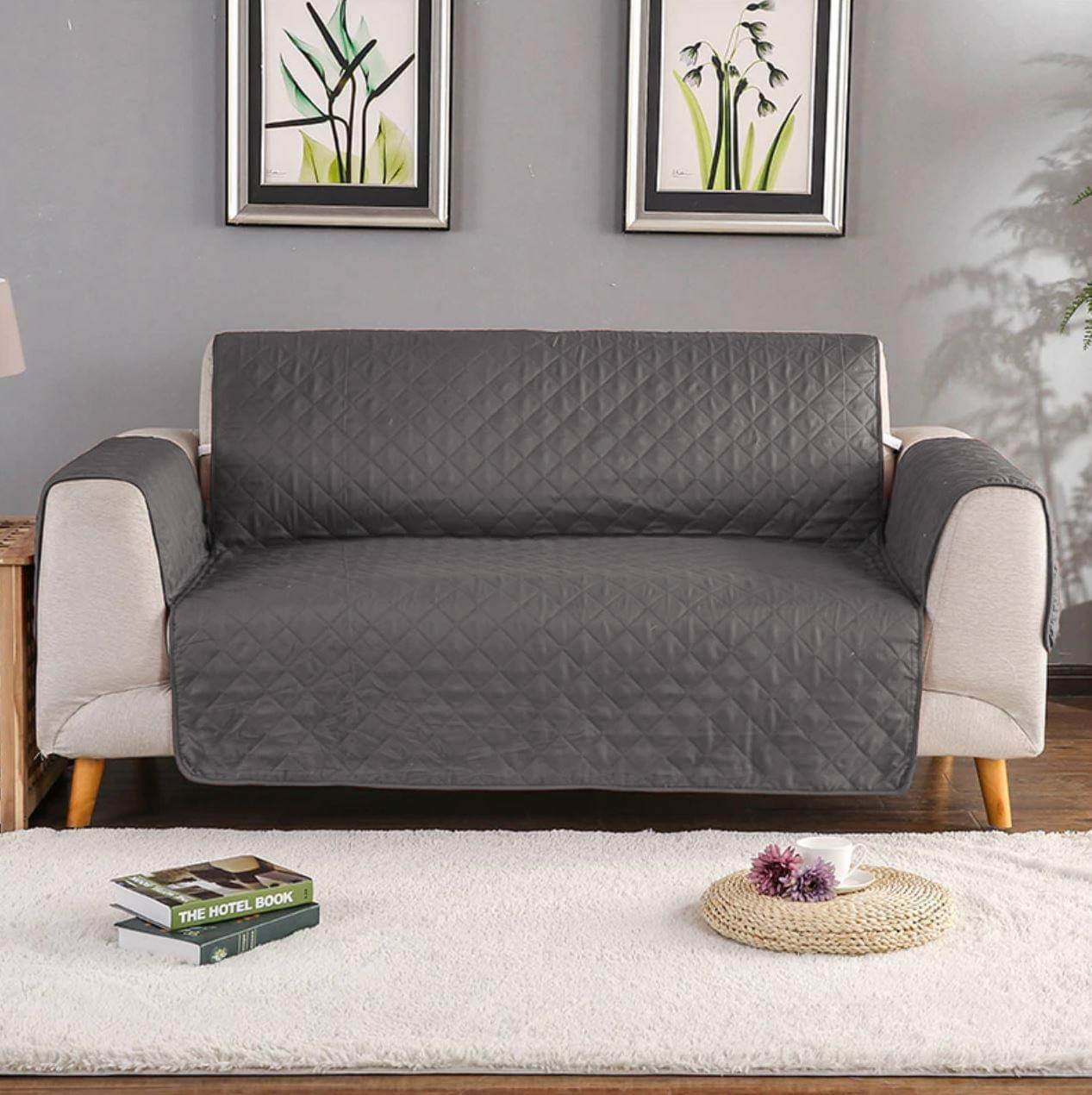 5 Seat Gray Quilted Sofa Cover ( 3+1+1)
